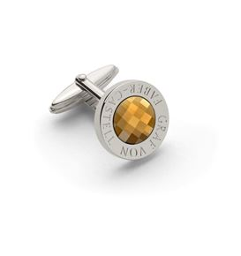 Graf-von-Faber-Castell - Cufflinks round, platinum-plated with faceted citrine