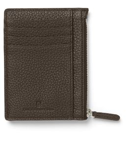 Graf-von-Faber-Castell - Credit card case with zipper Cashmere, dark brown